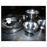 19 Stainless Steel Boat Bowls and 5 Small Round