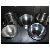 12 Metal Bowls and  Cream Pitcher