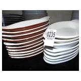 Hall Stoneware Boat Dishes 8 White and 16 Brown