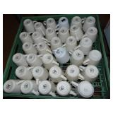 Over 60 White Coffee Cups In Dishwashing Trays