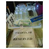 Glass Sugar Dishes and ID Cards