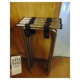 4 Folding Chrome Metal Double Bar Tray Stands