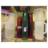 15 Large Plastic Soda Cups and 4 Plastic Pitchers