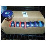 American Shuffleboard Pucks 4 Red 3 Purple 1 Blue