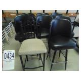 7 Black Leather Bar Stools and 1 Upholstered Stool