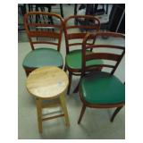 3 Wooden Chairs with Green Padded Seats and 1