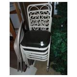 4 Metal Green Padded Dinning Chairs