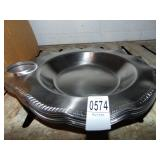 Stainless Steel Serving Plates with Condiment Cup