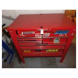 Red Metal Tool Box 5 Drawer Flip Top