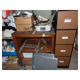Metal File Cabinet Wooden Shelf and Contents