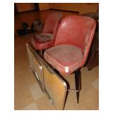2 Red Barrel Style Bar Stools and Folding Table