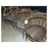 3 Wooden Barrel Chairs and 2 Chairs on Wheels