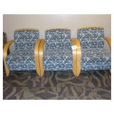 3 Wooden Upholstered Chairs
