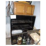 Metal Shelf and Wooden Cabinet