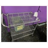 metal cart with plastic bins and black rack