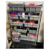 metal shelf with bins