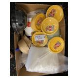 box of assorted plates straws etc