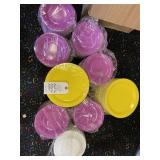small purple plates and large yellow plates