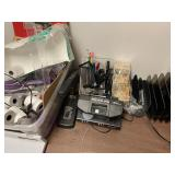 table with office supplies, royal sovereign money
