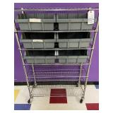 stainless shelves with contents
