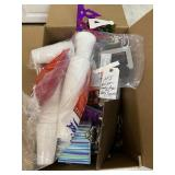 box of goodie bags and party supplies