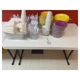 4 foot folding table with contents