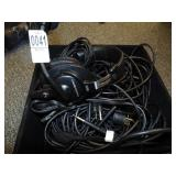 assorted power cords, microphones, audio technica