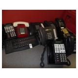 lot of telephones and keyboard