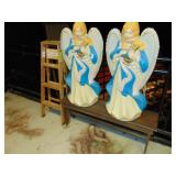 2-angels wooden bench