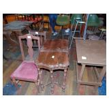 2 wooden tables and chairs