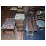 2 wooden benches, chair