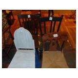 4 assorted wooden chairs