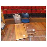 2 wooden tables, wooden box