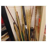 golf clubs, fishing rods