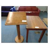 wooden podium and table