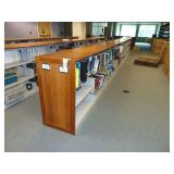 6 sections wooden and metal shelving
