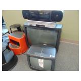electronic lot 2 tvs, 1 vhs dvd player, boombox