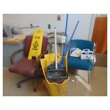 10-folding chair and mop bucket