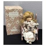 Porcelain Doll with Musical Rocker