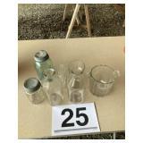 Milk bottles, glass ice bucket/misc.