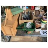 hand garden tools, pots and misc
