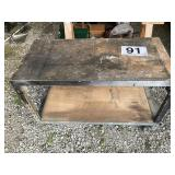 """Work bench on rollers metal frame wood top 23""""x48"""""""