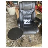 Leather Chair good rollers w/sm. folding stool