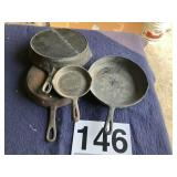 (1) Wagner  #10 (3) cast iron skillets no name