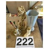 Statue, hair pins w/holder, Vase