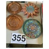 Terra-cotta pices (2) and metal plates
