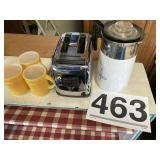 (4) Fireking cups, toaster and coffee pot