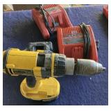Dewalt Drill and charger plus Milwaukee chargers