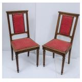 2 Wood Chairs w/Upholstered Seats/Backs