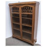 Oak Bookcase w/Double Glass Doors